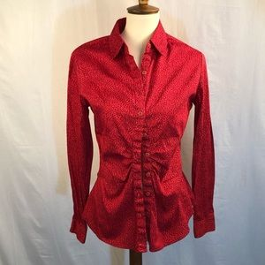 NY&CO red & brown stretch blouse